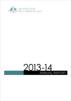 Department of House of Representatives Annual Report Cover